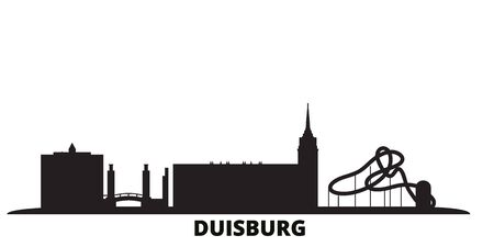 Germany, Duisburg city skyline isolated vector illustration. Germany, Duisburg travel cityscape with landmarks