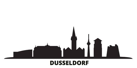 Germany, Dusseldorf city skyline isolated vector illustration. Germany, Dusseldorf travel cityscape with landmarks Illustration