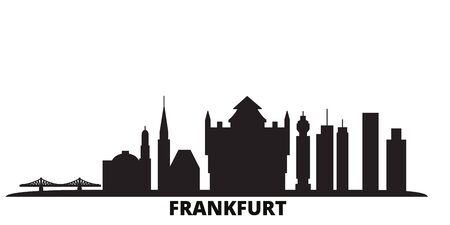 Germany, Frankfurt city skyline isolated vector illustration. Germany, Frankfurt travel cityscape with landmarks