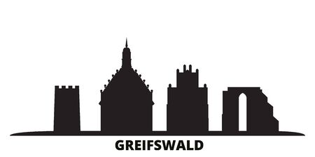 Germany, Greifswald city skyline isolated vector illustration. Germany, Greifswald travel cityscape with landmarks