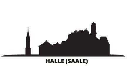 Germany, Halle (Saale) city skyline isolated vector illustration. Germany, Halle (Saale) travel cityscape with landmarks  イラスト・ベクター素材