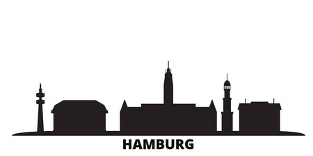 Germany, Hamburg city skyline isolated vector illustration. Germany, Hamburg travel cityscape with landmarks