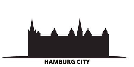 Germany, Hamburg City city skyline isolated vector illustration. Germany, Hamburg City travel cityscape with landmarks Illustration