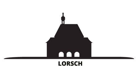 Germany, Lorsch city skyline isolated vector illustration. Germany, Lorsch travel cityscape with landmarks Ilustração
