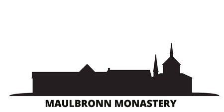 Germany, Maulbronn Monastery city skyline isolated vector illustration. Germany, Maulbronn Monastery travel cityscape with landmarks Illustration