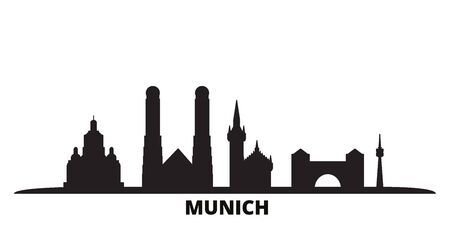 Germany, Munich city skyline isolated vector illustration. Germany, Munich travel cityscape with landmarks