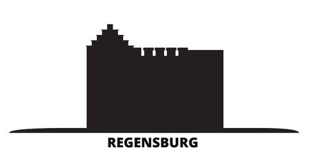 Germany, Regensburg city skyline isolated vector illustration. Germany, Regensburg travel cityscape with landmarks 일러스트