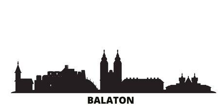Hungary, Balaton city skyline isolated vector illustration. Hungary, Balaton travel cityscape with landmarks Ilustração
