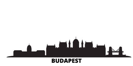 Hungary, Budapest city skyline isolated vector illustration. Hungary, Budapest travel cityscape with landmarks