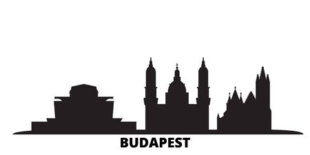 Hungary, Budapest City city skyline isolated vector illustration. Hungary, Budapest City travel cityscape with landmarks Illusztráció