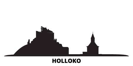 Hungary, Holloko, Old Village city skyline isolated vector illustration. Hungary, Holloko, Old Village travel cityscape with landmarks