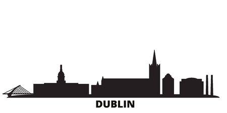 Irland, Dublin city skyline isolated vector illustration. Irland, Dublin travel cityscape with landmarks