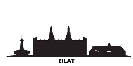 Israel, Eilat city skyline isolated vector illustration. Israel, Eilat travel cityscape with landmarks