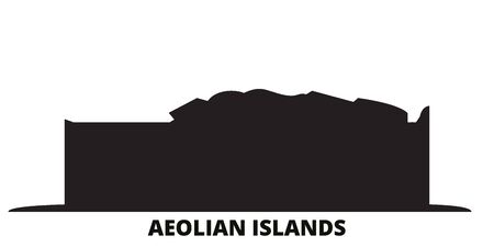 Italy, Aeolian Islands city skyline isolated vector illustration. Italy, Aeolian Islands travel cityscape with landmarks Illusztráció