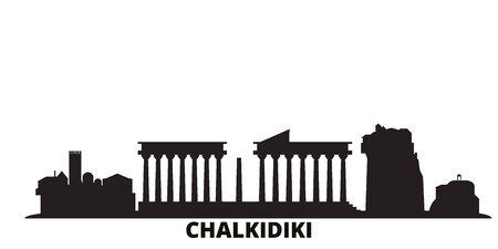 Greece, Chalkidiki city skyline isolated vector illustration. Greece, Chalkidiki travel cityscape with landmarks Illusztráció