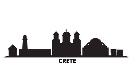 Greece, Crete city skyline isolated vector illustration. Greece, Crete travel cityscape with landmarks Ilustração