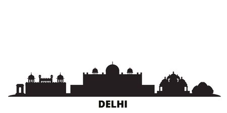 India, Delhi city skyline isolated vector illustration. India, Delhi travel cityscape with landmarks