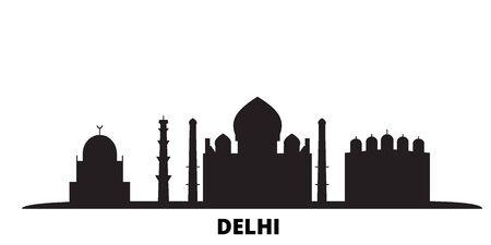 India, Delhi City city skyline isolated vector illustration. India, Delhi City travel cityscape with landmarks