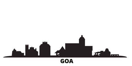 India, Goa city skyline isolated vector illustration. India, Goa travel cityscape with landmarks