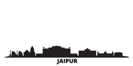 India, Jaipur city skyline isolated vector illustration. India, Jaipur travel cityscape with landmarks