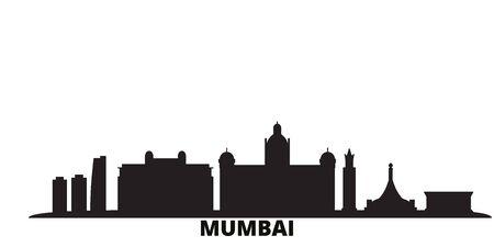 India, Mumbai city skyline isolated vector illustration. India, Mumbai travel cityscape with landmarks