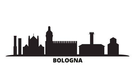 Italy, Bologna city skyline isolated vector illustration. Italy, Bologna travel cityscape with landmarks