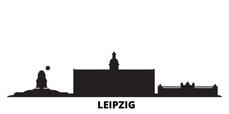 Germany, Leipzig city skyline isolated vector illustration. Germany, Leipzig travel cityscape with landmarks