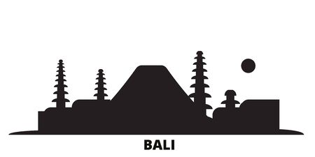 Indonesia, Bali city skyline isolated vector illustration. Indonesia, Bali travel cityscape with landmarks