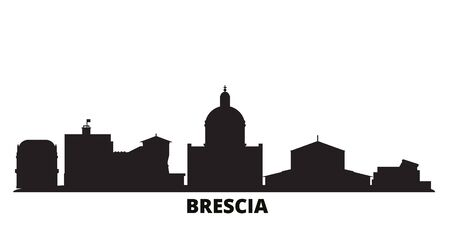 Italy, Brescia city skyline isolated vector illustration. Italy, Brescia travel cityscape with landmarks