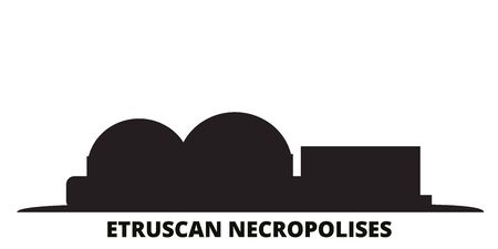 Italy, Cerveteri, Etruscan Necropolises city skyline isolated vector illustration. Italy, Cerveteri, Etruscan Necropolises travel cityscape with landmarks