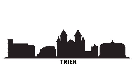 Germany, Trier city skyline isolated vector illustration. Germany, Trier travel cityscape with landmarks