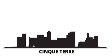 Italy, Cinque Terre city skyline isolated vector illustration. Italy, Cinque Terre travel cityscape with landmarks Ilustrace