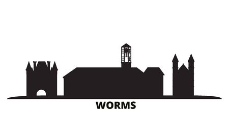 Germany, Worms city skyline isolated vector illustration. Germany, Worms travel cityscape with landmarks
