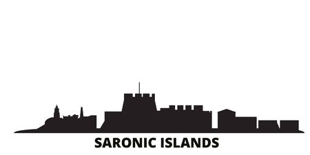 Greece, Saronic Islands city skyline isolated vector illustration. Greece, Saronic Islands travel cityscape with landmarks
