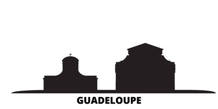 Guadeloupe city skyline isolated vector illustration. Guadeloupe travel cityscape with landmarks