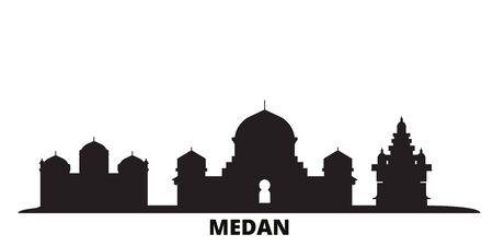 Indonesia, Medan city skyline isolated vector illustration. Indonesia, Medan travel cityscape with landmarks