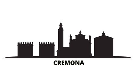 Italy, Cremona city skyline isolated vector illustration. Italy, Cremona travel cityscape with landmarks