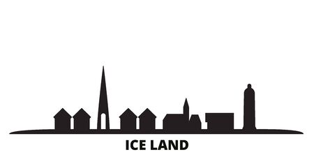 Iceland city skyline isolated vector illustration. Iceland travel cityscape with landmarks