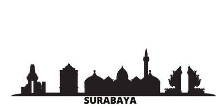 Indonesia, Surabaya city skyline isolated vector illustration. Indonesia, Surabaya travel cityscape with landmarks