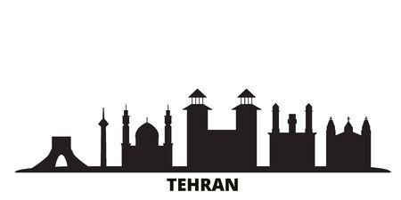 Iran, Tehran city skyline isolated vector illustration. Iran, Tehran travel cityscape with landmarks Illusztráció