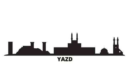 Iran, Yazd city skyline isolated vector illustration. Iran, Yazd travel cityscape with landmarks
