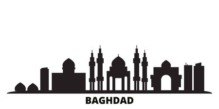 Iraq, Baghdad city skyline isolated vector illustration. Iraq, Baghdad travel cityscape with landmarks