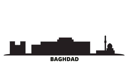 Iraq, Baghdad City city skyline isolated vector illustration. Iraq, Baghdad City travel cityscape with landmarks