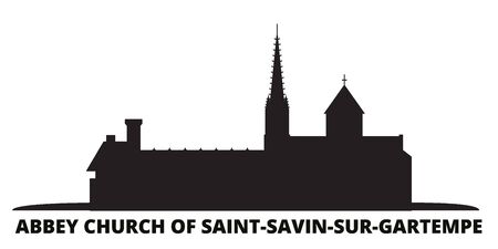 France, Abbey Church Of Saint Savin Sur Gartempe Landmark city skyline isolated vector illustration. France, Abbey Church Of Saint Savin Sur Gartempe Landmark travel cityscape with landmarks