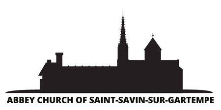 France, Abbey Church Of Saint Savin Sur Gartempe Landmark city skyline isolated vector illustration. France, Abbey Church Of Saint Savin Sur Gartempe Landmark travel cityscape with landmarks