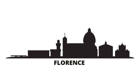 Italy, Florence city skyline isolated vector illustration. Italy, Florence travel cityscape with landmarks 矢量图像