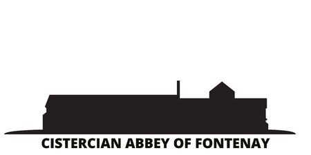 France, Cistercian Abbey Of Fontenay Landmark city skyline isolated vector illustration. France, Cistercian Abbey Of Fontenay Landmark travel cityscape with landmarks  イラスト・ベクター素材