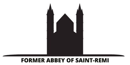 France, Former Abbey Of Saint Remi Landmark city skyline isolated vector illustration. France, Former Abbey Of Saint Remi Landmark travel cityscape with landmarks Ilustracja