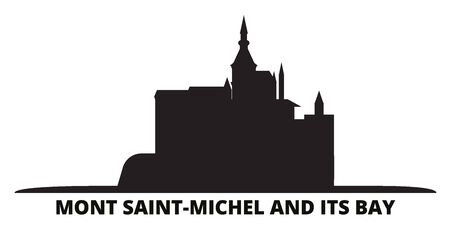 France, Mont Saint Michel And Its Bay Landmark city skyline isolated vector illustration. France, Mont Saint Michel And Its Bay Landmark travel cityscape with landmarks