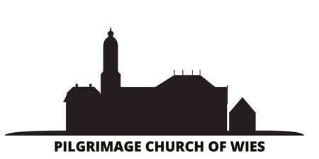 Germany, Steingaden, Pilgrimage Church Of Wies city skyline isolated vector illustration. Germany, Steingaden, Pilgrimage Church Of Wies travel cityscape with landmarks